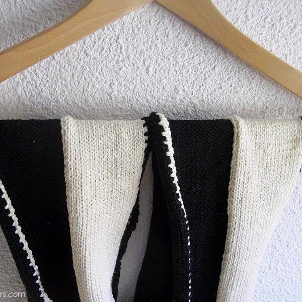 echarpe noir ecru laine