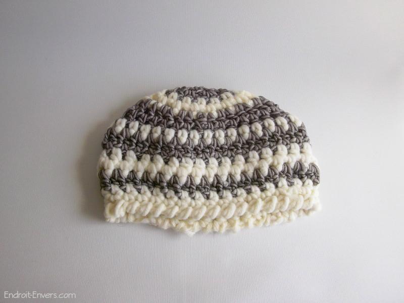 bonnet en laine gris blanc